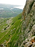 This is central Israel on a cliff face where zealots built a holdout. The trail was 12 inches wide in places.