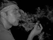 Pipe smoke on a camping trip.